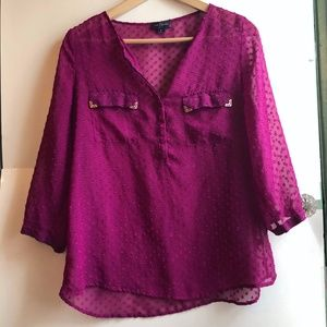 THE LIMITED Pink Polka Dot 3/4 Sleeve Popover Top